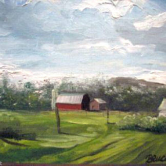 An oil painting of a barn by artist Higdon.