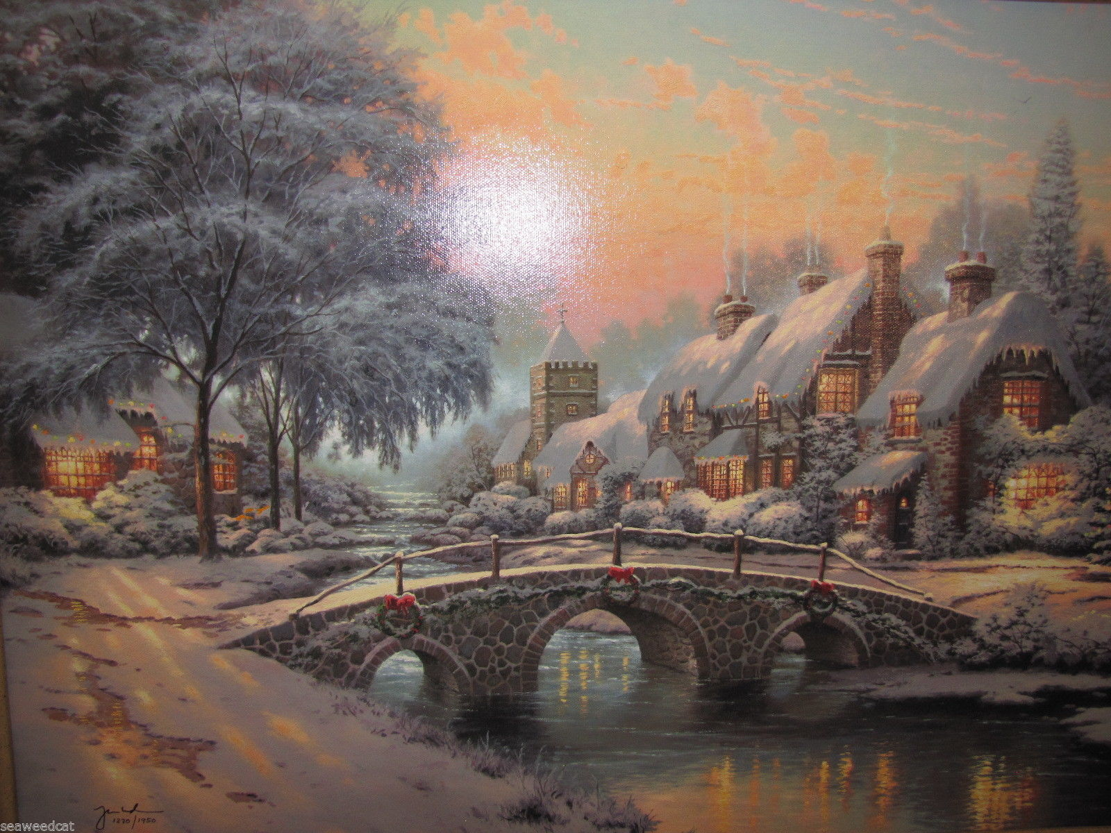 Thomas Kinkade Christmas.Thomas Kinkade Cobblestone Christmas Cobblestone Lane Vi S N Canvas Print