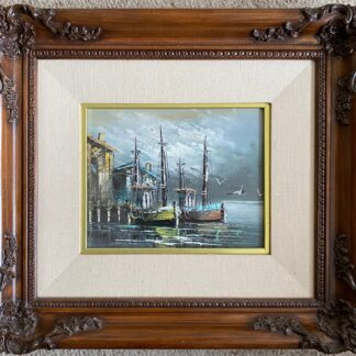 An harbor painting by artist Sing.